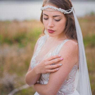 Wianek koronkowy Eliza z welonem