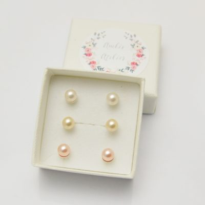 Kolczyki srebrne z perełkami Swarovskiego 6mm