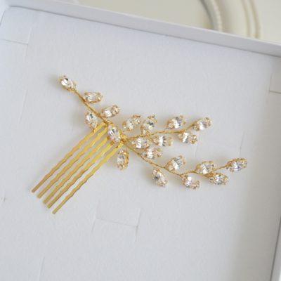 Złoty grzebyk z cyrkoniami Soria
