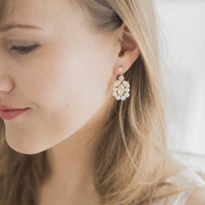 Kolczyki Zoe perły i kryształki
