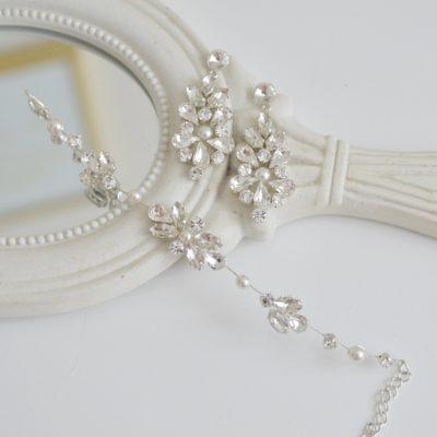 Komplet biżuterii z cyrkoniami i perłami model Dalia